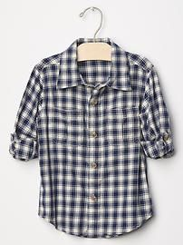 Gap Textured plaid convertible shirt