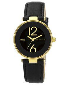 Anne Klein Watch, Women's Black Leather Strap 34mm AK-1064BKBK - All Watches - Jewelry & Watches - Macy's