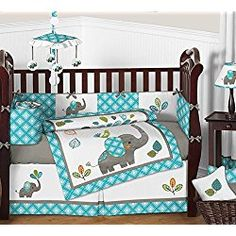 The Mod Elephant baby bedding collection by Sweet Jojo Designs will create a delightful setting for your little one. This gender neutral crib bedding set features detailed appliqué and embroidery works of playful elephants. Elephant Crib Bedding Set, Baby Crib Bedding Sets, Crib Sets, Nursery Bedding, Elephant Nursery, Bedding Shop, Girl Nursery, Babies Nursery, Comforter Sets