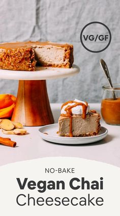 AMAZING No Bake Vegan Chai Cheesecake! 10 ingredients, BIG flavor, SO creamy! recipes for two recipes fry recipes Baker Recipes, Vegan Dessert Recipes, Vegan Sweets, Healthy Desserts, Healthy Baking, Bon Dessert, Oreo Dessert, Vegan Cheesecake, Cheesecake Recipes