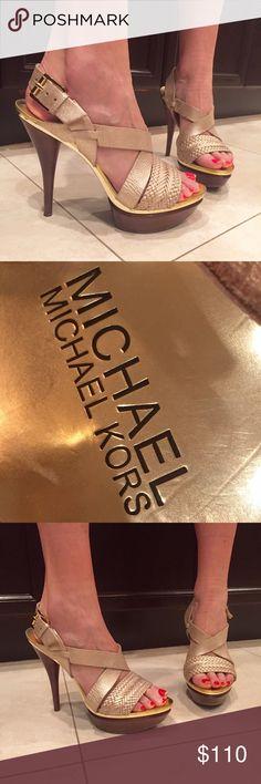Michael Kors Open-Toe Heels  Authentic Beautiful Michael Kors open-toe heels with gold straps, braided detailing, adjustable clasp around ankle. Only worn twice!  Authentic Michael Kors Shoes Heels