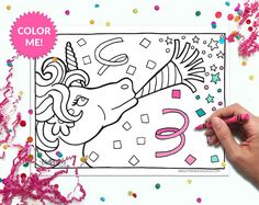 Unicorn party! Super cute printable coloring cards and coloring pages! Just download, print at home, and color! - The spaces are large enough to be colored confidently but adults *and* kids. Click through for more designs! | DIY adult coloring.