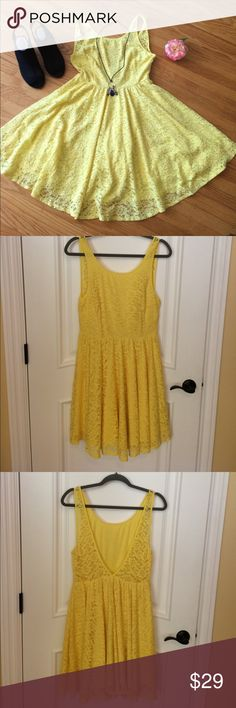 """🍋 Pins and Needles for UO - Lemon Yellow Dress 10 Brighten up your day & other person's while wearing this Lemon Yellow - Lace Dress by Pins And Needles for Urban Outfitters! In Misses Size 10 (See Photo Measurements for More Info.). Shell is 80% Cotton & 20% Nylon. Lining is 100% Polyester (yeah! No see-through 😊). Dress hits above knees on me (I'm 5'7""""). Perfect to wear at Weddings, Spring & Summer Events, Recitals, etc. Thank you for 🛒 here. Bundle other items to save 💰. I 💖my Posher…"""