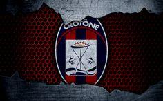 Download wallpapers Crotone, 4k, art, Serie A, soccer, logo, football club, Crotone FC, metal texture