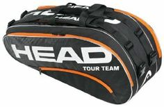 Head 2013 Tour Team Combi Tennis Bag (Black/Orange) by HEAD. $59.95. Adjustable handstraps. Front zipper pocket. Adjustable, reversible, and detachable shoulder straps. Material: 90% Polyester/10% TPU. Compartments for 8 racquets, one with CCT+. A large racket bag that has all the capacity to cater for serious and casual matches alike, as well as training and practice. There is plenty of space for rackets, kit, accessories and shoes.Dimensions: 76 x 33 x 30cmFeatures:*Mater...