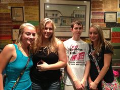 Heather Holmes (left), Breanna Shick, Wyatt Whewell, and Hannah Holmes, all of Lawrenceville, IL, at Wintzell's Oyster House in Mobile, AL on June 21, 2013