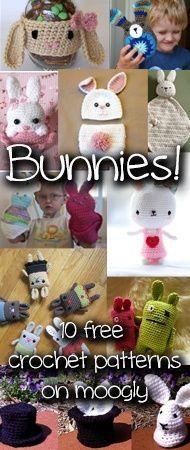 Crochet Bunnies - so cute! Free pattern roundup at Moogly!