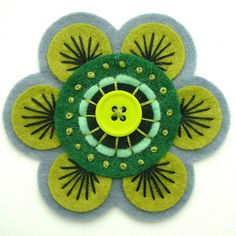 70's Inspired Green Felt Brooch