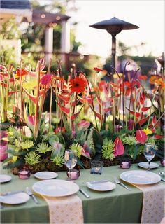 tropical wedding decor Always With Flowers - Lemont, IL Tropical Wedding Decor, Tropical Decor, Tropical Flowers, Tropical Weddings, Exotic Wedding, Wedding Flower Arrangements, Flower Centerpieces, Floral Arrangements, Centerpiece Wedding