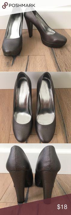 928426ea806 Calvin Klein Closes Toes Metallic Grey Heels Only worn a couple of times metallic  grey Calvin