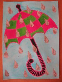 Deštník - malba, koláž z tiskovin