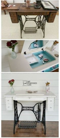Repurposed Singer sewing machine makes a perfect makeup vanity desk table or jewelry organizer.