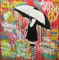 INDO Street Artist  Alley in Tokyo  Original Mixed Media on Board 120cm x 120cm