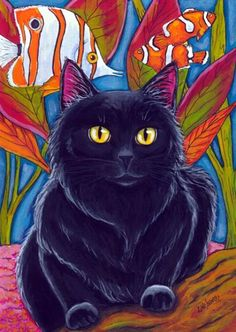 Black Cat Tropical Fish Painting by Artist Lisa M. Nelson