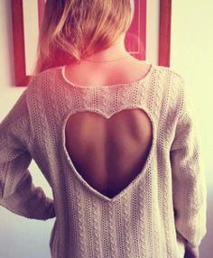 Open back cream heart sweater