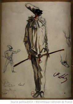 [Pulcinella], théâtre de San Carlino, Naples.   [Les jumeaux de Bergame : vingt maquettes de costumes / par le comte Lepic] Auteur : Lepic, Ludovic Napoléon (1839-1889). Dessinateur Date d'édition : 1885-1886