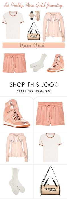 """""""So Pretty: Rose Gold Jewelry"""" by belladonnasjoy ❤ liked on Polyvore featuring Bebe, MANGO, Odd Molly, Carven, Comme des Garçons, Miss Selfridge and Jessica Carlyle"""