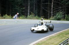 1974. XXXVI Grosser Preis von Deutschland. Nürburgring. Carlos Pace suspended in the air with his Brabham BT44. Fly an slideway togheter.