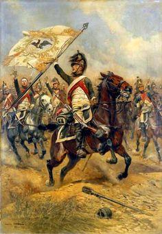 Regreso de la carga, un jinete del 4º de Dragones exhibe como trofeo una bandera prusiana capturada, Jena 1806 Más en www.elgrancapitan.org/foro