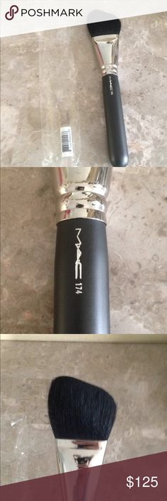 MAC Pro # 174 super rare MAC PRO # 174 brush super rare and brand new in package. Made from real hairs. Large angled contour brush. Very hard to find especially brand new. One rust spot on metal see pic but brush never used see the flawless bristles MAC Cosmetics Makeup Brushes & Tools