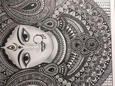 home Art Prints - Hindu Goddess Durga , Home Decor art print Doodle Art Drawing, Zentangle Drawings, Mandala Drawing, Mandala Sketch, Doodling Art, Zentangle Patterns, Madhubani Art, Madhubani Painting, Art Drawings Sketches Simple