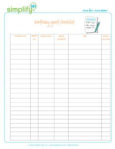 free printable birthday party guest list planner track birthdays and of. Black Bedroom Furniture Sets. Home Design Ideas