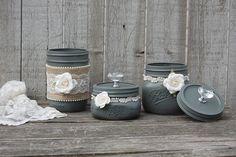 Grey dresser jar set