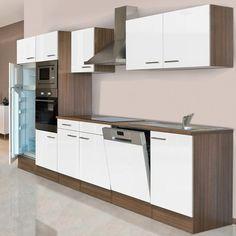 Respekta Küchenzeile KB340EYWMIGKE 340 cm Weiß-Eiche York Nachbildung