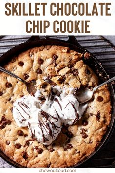 Welcome to the ultimate skillet chocolate chip cookie. This easy skillet cookie boasts crispy edges and a chewy center, thanks to your cast iron pan. #chocolatechip #cookie #skillet #chocolatechipcookie