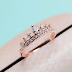 The Heir Zircon 14k Rose Gold crown Ring by DaintyPalor on Etsy