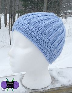 The Knit Illusions Skully is a tight fitting beanie with three different stitch patterns that all resemble knit fabric, but they're actually crochet stitches!
