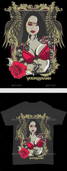 Queen Lady Rose — Vector EPS #darkness #t-shirt • Available here → https://graphicriver.net/item/queen-lady-rose/15765070?ref=pxcr