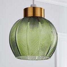 Colleen Green Glass Easy Fit Pendant | Dunelm Green Pendant Light, Art Deco Pendant Light, Glass Pendant Shades, Green Pendants, Glass Pendants, Pendant Lighting, Light Green Walls, Blown Glass Pendant Light, Boho Lighting