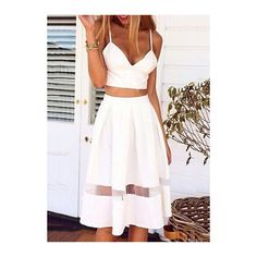 Rotita Two Piece Set Crop Top and Skirt White Dress (34 AUD) ❤ liked on Polyvore featuring dresses, outfits, skirts, white, white pleated dress, sexy dresses, white sleeve dress, knee-length dresses and sexy two piece dresses