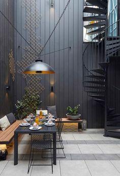 Timber Feature Wall, Black Feature Wall, Courtyard Design, Garden Design, Courtyard Gardens, Best Flooring, Outdoor Living, Outdoor Decor, Backyard Landscaping