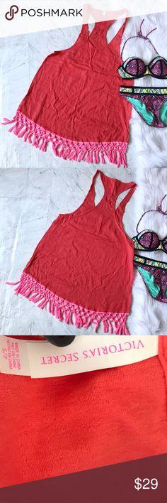 """Victoria Secret beach/pool cover up dress Coral S VS coverup dress. Sz small. 100% Cotton . Chest flat across 19"""" length 34"""" Victoria's Secret Dresses"""