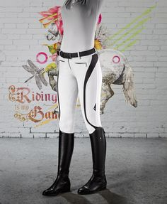Equiline women breeches, new model Francine, with inserts High Performance. No slip breeches, with silicone parts to knees for ensure a perfect grip on the saddle. Are composed with microfiber E Plus