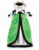 """Minky Cow Blanky by Mud Pie  Cow minky cuddler features grosgrain trim and silky satin lining.  Size: 15""""x 8"""""""