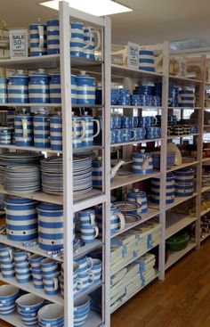 cornishware motherlode (dont buy any of the newer made stuff - all made in china now. Only buy the older stuff if you want it made in England! Blue And White China, Blue China, Love Blue, Cornish Cottage, Cornishware, Blue Plates, Vintage Dishes, China Patterns, Color Azul