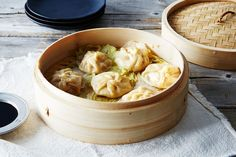 Shrimp Soup Dumplings - a delicious mixture of chicken consomme with ground pork and shrimp along with a soy dipping sauce