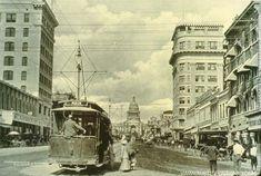 Congress Ave with streetcar-- Postcard.com
