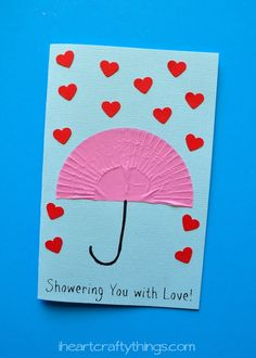 """Showering You with Love"" Mother's Day Card Kids Craft from iheartcraftythings.com."