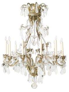 A Louis XV style cut glass and rock crystal-mounted silvered metal sixteen-light chandelier   Lot   Sotheby's