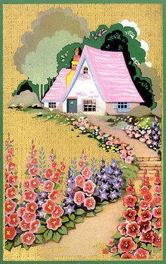 20s Vintage Cottage Illustration Playing Card Back