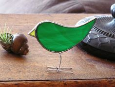 Green Stained Glass Bird Suncatcher Standing Chick by SNLCreations, $23.00
