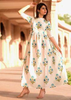 Buy Beautiful Mughal Butta Dress Online in India. Pakistani Dress Design, Pakistani Dresses, Indian Dresses, Ethnic Wear Designer, Indian Designer Outfits, Frock Fashion, Fashion Dresses, Kalamkari Dresses, Designer Party Dresses