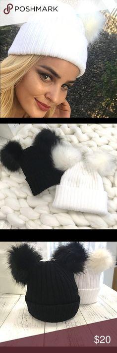 Winter White fur pompom knitted hat Winter White fur pompom knitted hat Accessories Hats