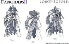 Now that the game is out I guess i can show these These are some concepts i did for Darksiders 2 last year. Darksiders II (c) Vigil ,THQ Darksiders II armour concepts Necromancer Character Creation, Fantasy Character Design, Character Design Inspiration, Character Concept, Novel Characters, Fantasy Characters, Armor Concept, Concept Art, Darksiders Horsemen