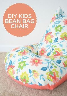 DIY: Sew a kid's beanbag chair in 30 minutes!-- my kids love this style of bean bag! I can't believe this sewing pattern is so easy! I think this bean bag chair would make great birthday or christmas gifts for the kids too.