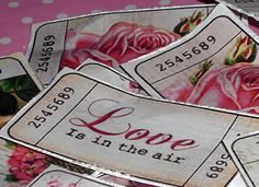 Valentine Day Tickets, run a spikey pattern tracing wheel between tickets to create the serrated edge